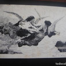 Arte: DIBUJO ORIGINAL A PLUMILLA , - FIRMADO ANGEL RUIZ - AÑO 1891 APROX. Lote 138998422