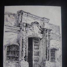 Arte: DIBUJO ORIGINAL A PLUMILLA , CASA DONDE SE JURO EL ACTA DE INDEPENDENCIA ARGENTINA - AÑO 1891 APROX. Lote 139182878