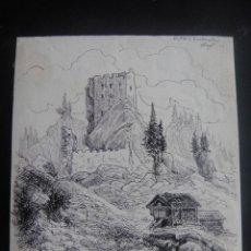 Arte: DIBUJO ORIGINAL A PLUMILLA , CASTILLO DE BUCHENSTEIN - FIRMADO A. RUIZ - AÑO 1891 APROX. Lote 139183078