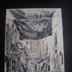 Arte: DIBUJO ORIGINAL A PLUMILLA , UNA CALLE EN SEVILLA - FIRMADO A. RUIZ - AÑO 1890 . Lote 139213246