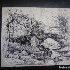 Arte: DIBUJO ORIGINAL A PLUMILLA , PUENTE EN LA COSTA DE DEVON - AÑO 1890 . Lote 139251882