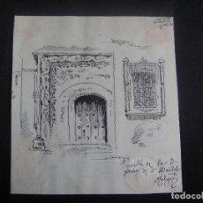 Arte: DIBUJO ORIGINAL A PLUMILLA , PUERTA DE LA IGLESIA DE SAN BARTOLOME EN MALAGA - AÑO 1890 . Lote 139251946
