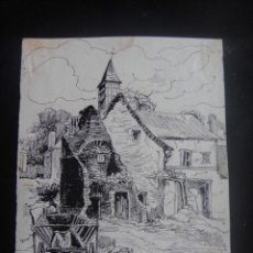 Arte: DIBUJO ORIGINAL A PLUMILLA , RUINAS DE HUGOMINI - AÑO 1890 . Lote 139252062