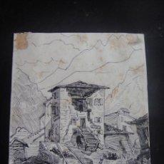 Arte: DIBUJO ORIGINAL A LA PLUMA, PUEBLO DE SAN NICOLAS , FRANCIA - AÑO 1890 APROX.. Lote 139307574