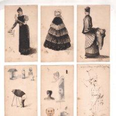 Arte: 9 DIBUJOS FIRMADOS Y FECHADOS EN 1890. TINTA SOBRE PAPEL 8X13,5 CM. CADA UNO.. Lote 139523694