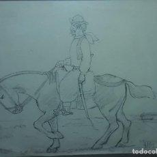 Arte: ANTIGUO CUADRO DIBUJO ORIGINAL A LÁPIZ DEL PINTOR ELEODORO MARENCO EL GAUCHO. Lote 139594226
