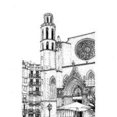 Arte: DIBUJO ORIGINAL A TINTA 'SANTA MARIA DEL MAR' POR MERCÈ COTS - 2010. Lote 139678178