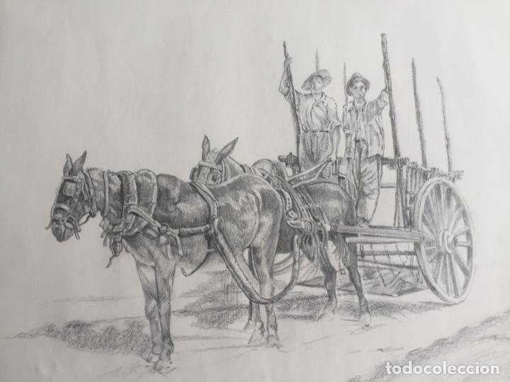 Arte: LOTE DE 2 DIBUJOS ORIGINALES A LÁPIZ DE C. AGUILAR , ESCENA RURAL - Foto 3 - 139940998