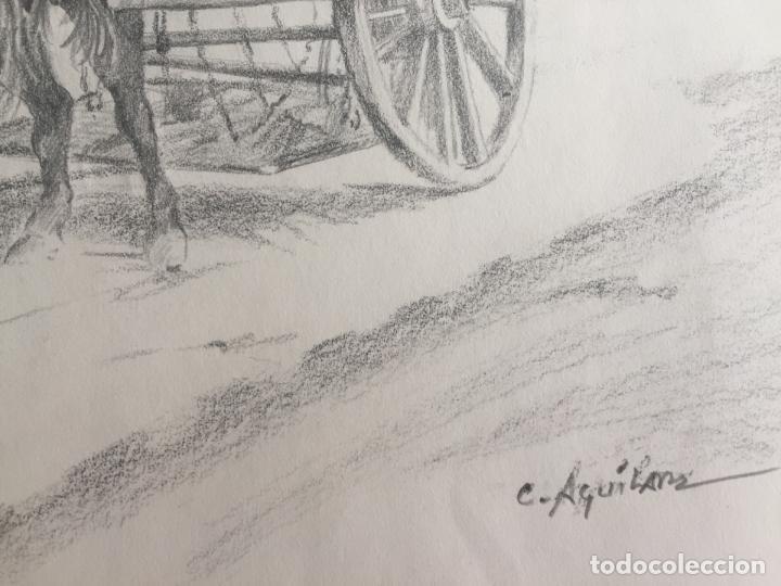Arte: LOTE DE 2 DIBUJOS ORIGINALES A LÁPIZ DE C. AGUILAR , ESCENA RURAL - Foto 4 - 139940998