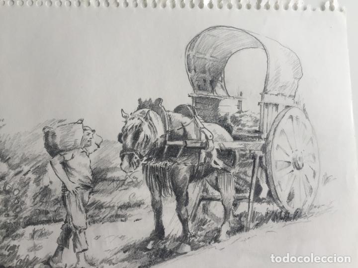Arte: LOTE DE 2 DIBUJOS ORIGINALES A LÁPIZ DE C. AGUILAR , ESCENA RURAL - Foto 5 - 139940998