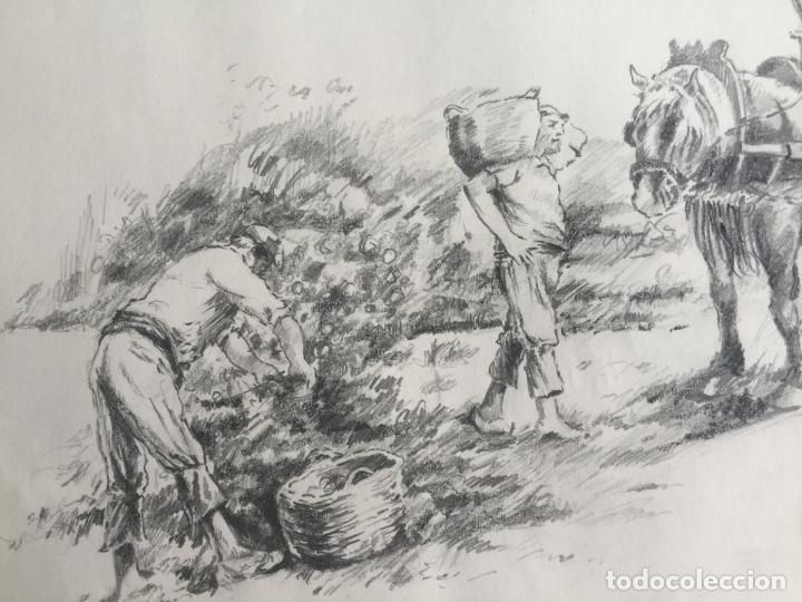 LOTE DE 2 DIBUJOS ORIGINALES A LÁPIZ DE C. AGUILAR , ESCENA RURAL (Arte - Dibujos - Contemporáneos siglo XX)