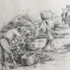 Arte: LOTE DE 2 DIBUJOS ORIGINALES A LÁPIZ DE C. AGUILAR , ESCENA RURAL. Lote 139940998