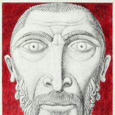 Arte: GUILLERMO PÉREZ VILLALTA . CARA BIZANTINA 2002 . TEMPLE Y GRAFITO SOBRE MADERA ESTUCADA . FIRMADO. Lote 140011394