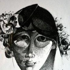 Arte: JORDI ALUMÁ, DIBUJO A TINTA CHINA 25 X 21 CM. Lote 140028138