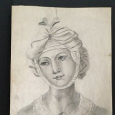 Arte: RETRATO EN CARBÓN -FEDERICO BERNALDEZ GÓMEZ -1875. Lote 140080401