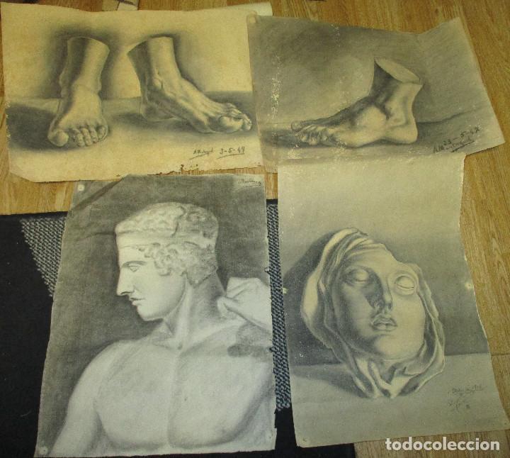 LOTE 4 DIBUJOS ORIGINALES AÑOS 40 (Arte - Dibujos - Contemporáneos siglo XX)