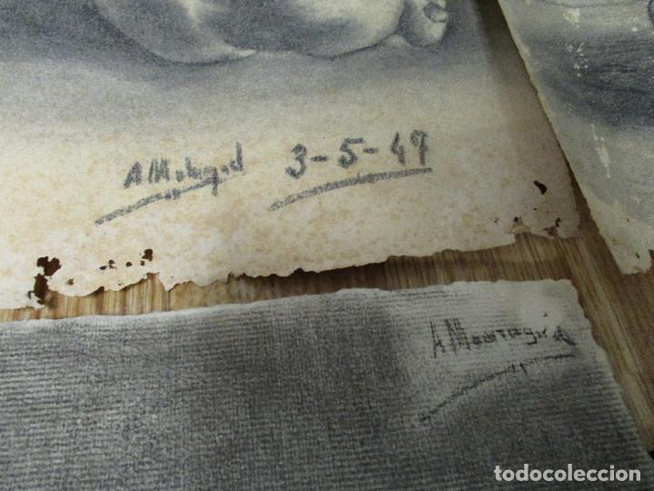 Arte: lote 4 dibujos originales años 40 - Foto 7 - 140297238