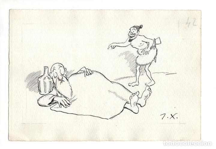 DIBUJO ORIGINAL DE JOAQUÍN XAUDARÓ. DIBUJANTE, ILUSTRADOR Y CARICATURISTA. (Arte - Dibujos - Contemporáneos siglo XX)