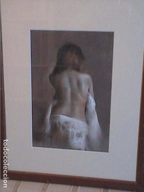 Arte: EXCELENTE OBRA AL PASTEL DE DOMINGO ALVAREZ. TORSO FEMENINO. - Foto 2 - 140551078