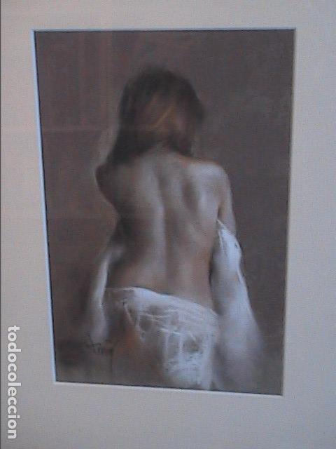 Arte: EXCELENTE OBRA AL PASTEL DE DOMINGO ALVAREZ. TORSO FEMENINO. - Foto 3 - 140551078