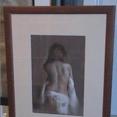 Arte: EXCELENTE OBRA AL PASTEL DE DOMINGO ALVAREZ. TORSO FEMENINO.. Lote 140551078