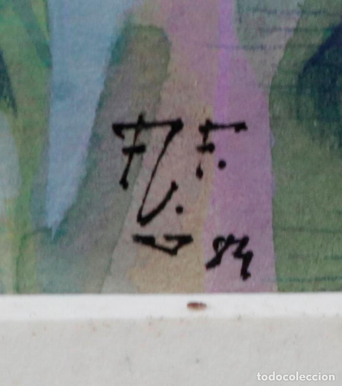 Arte: Dibujo mago, pallaso, 1984, técnica mixta, firma ilegible. 51,5x66cm - Foto 4 - 140721706