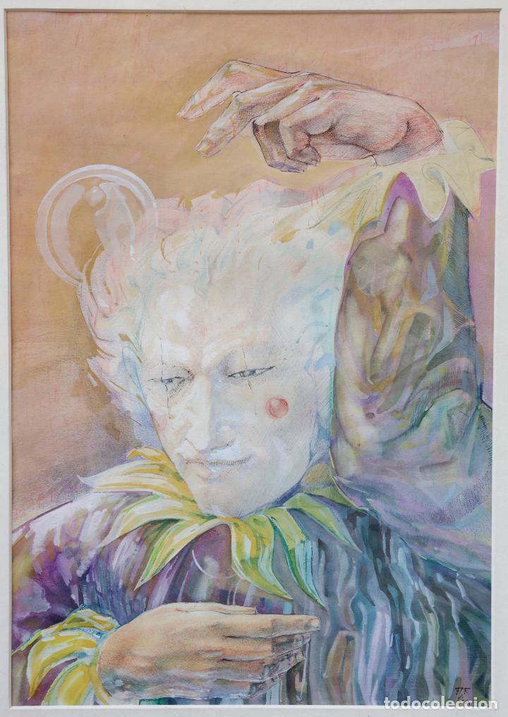 Arte: Dibujo mago, pallaso, 1984, técnica mixta, firma ilegible. 51,5x66cm - Foto 2 - 140721706