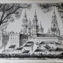 Arte: DIBUJO A PLUMILLA CATEDRAL DE SANTIAGO. Lote 140730990