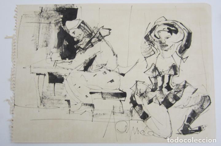PERSONAJES, DIBUJO, FIRMA ILEGIBLE. 31X21,5CM (Arte - Dibujos - Contemporáneos siglo XX)