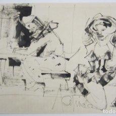 Arte: PERSONAJES, DIBUJO, FIRMA ILEGIBLE. 31X21,5CM. Lote 140840042