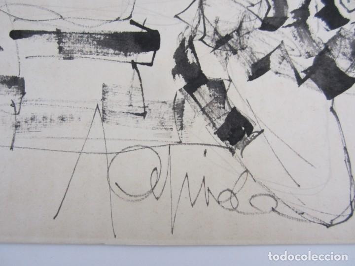 Arte: Personajes, dibujo, firma ilegible. 31x21,5cm - Foto 2 - 140840042