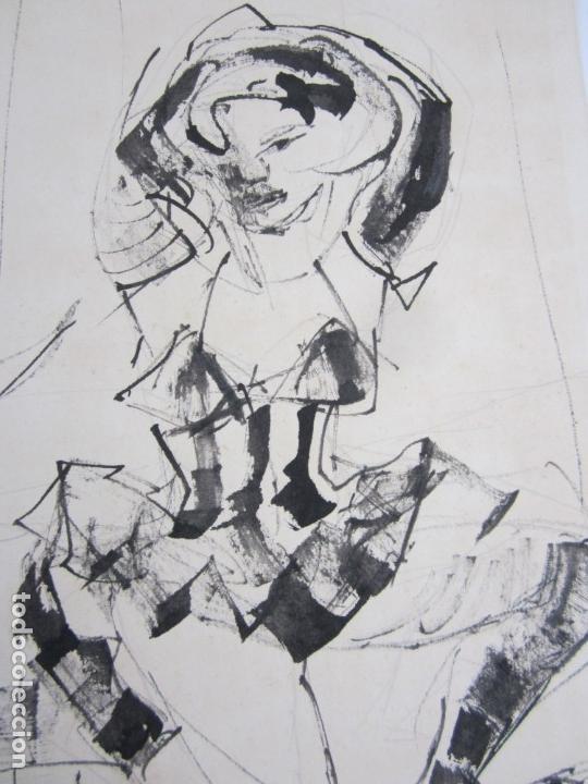 Arte: Personajes, dibujo, firma ilegible. 31x21,5cm - Foto 3 - 140840042