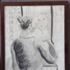 Arte: JOSEP BUSQUETS ÒDENA (1914-1998), MUJER Y ESPEJO, 1978, TÉCNICA MIXTA. 38X52,5CM. Lote 140840514
