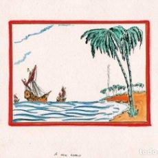 Arte: DIBUJO ORIGINAL DE HENDRIK WILLEM VAN LOON DE 1936. ILUSTRA LA CONQUISTA DE LOS MARES DE 1936. Lote 140840822