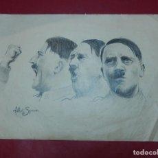 Arte: DIBUJO A CARBONCILLO / LÁPIZ, DE ADOLF HITLER. FIRMADO ALBERT SPEERN.. Lote 141500498