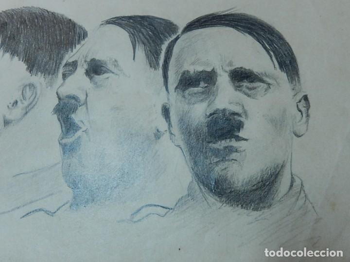 Arte: Dibujo a carboncillo / lápiz, de Adolf Hitler. Firmado Albert Speern. - Foto 2 - 141500498