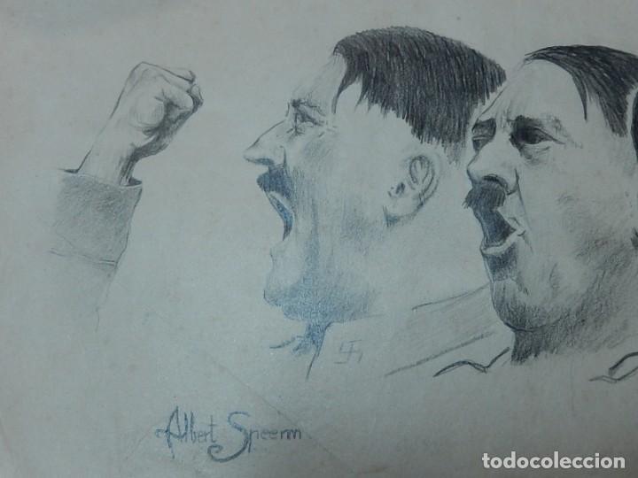 Arte: Dibujo a carboncillo / lápiz, de Adolf Hitler. Firmado Albert Speern. - Foto 3 - 141500498
