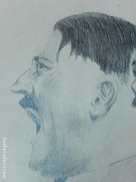 Arte: Dibujo a carboncillo / lápiz, de Adolf Hitler. Firmado Albert Speern. - Foto 5 - 141500498