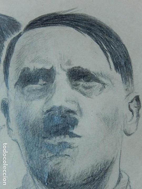 Arte: Dibujo a carboncillo / lápiz, de Adolf Hitler. Firmado Albert Speern. - Foto 7 - 141500498