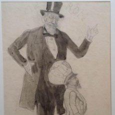 Arte: JOSEPH WATERS, ROMA, DIBUJO AL CARBÓN Y ACUARELA DE 1880, FIRMADO. Lote 141634074