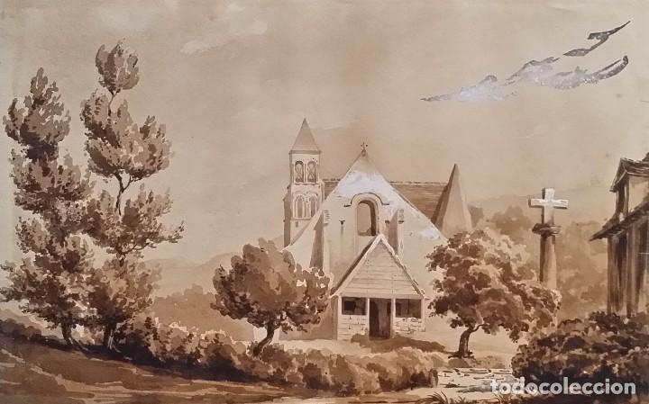 JEAN FÉLIX SALNEUVE, DIBUJO Y ACUARELA, 1840, FIRMADO (Arte - Dibujos - Modernos siglo XIX)