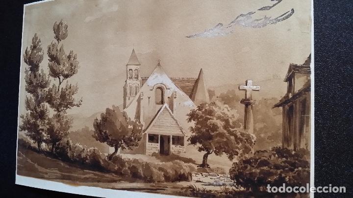 Arte: Jean Félix SALNEUVE, dibujo y acuarela, 1840, firmado - Foto 2 - 141635582