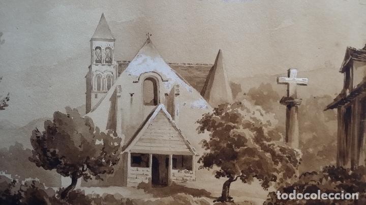 Arte: Jean Félix SALNEUVE, dibujo y acuarela, 1840, firmado - Foto 3 - 141635582