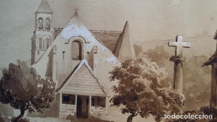 Arte: Jean Félix SALNEUVE, dibujo y acuarela, 1840, firmado - Foto 4 - 141635582