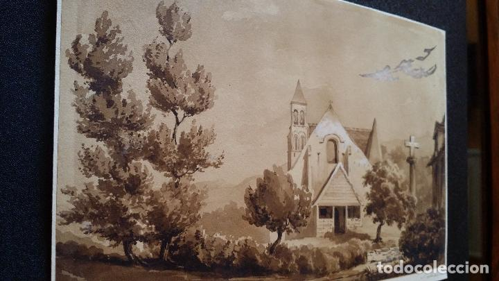 Arte: Jean Félix SALNEUVE, dibujo y acuarela, 1840, firmado - Foto 8 - 141635582