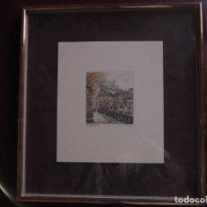 Arte: DIBUJO A TINTA COLOREADO VISTA DE SALZBURGO. ENMARCADO. AÑOS 80.. Lote 141742882