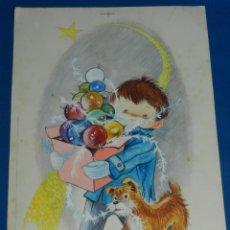 Arte: (N16) DIBUJO ORIGINAL CRISMA NAVIDEÑO ( NAVIDAD ) POR HODLER - 24 X 35 CM, BUEN ESTADO . Lote 141820934