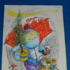 Arte: (N15) DIBUJO ORIGINAL CRISMA NAVIDEÑO ( NAVIDAD ) POR HODLER - 24 X 35 CM,BUEN ESTADO . Lote 141821002