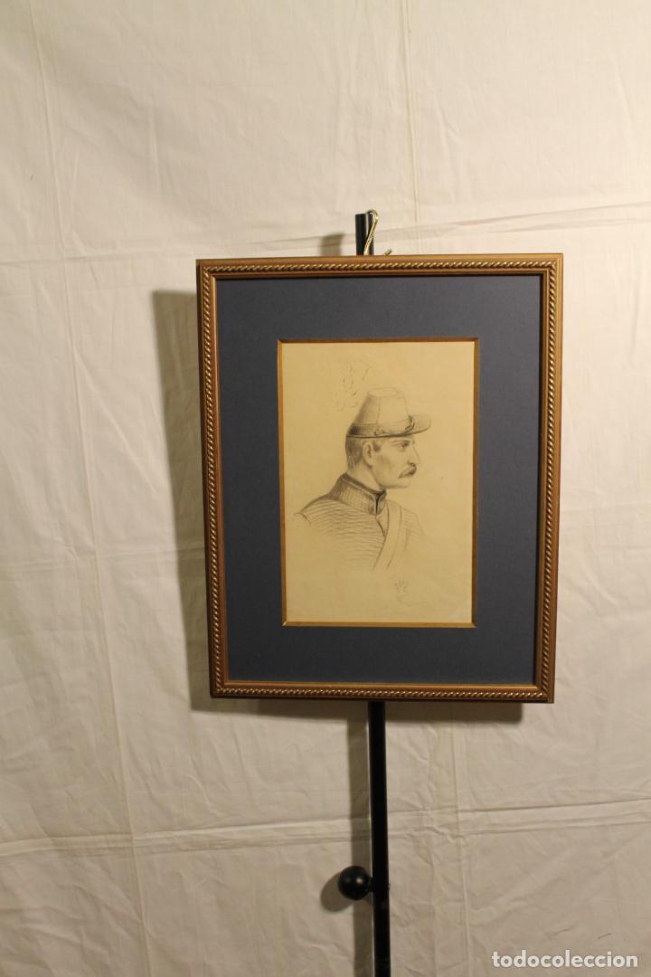 J.M. LÓPEZ, DIBUJO DE UN MILITAR (Arte - Dibujos - Contemporáneos siglo XX)