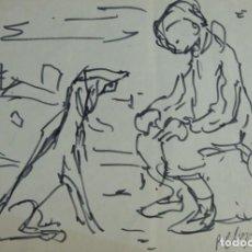 Arte: PERE CLAPERA (1906-1984) DIBUJO ROTULADOR NIÑO CON PERRO FIRMADO. Lote 142078942